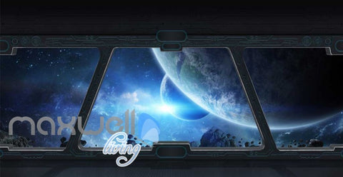 Image of View Planets And Space From A Spaceship Window Art Wall Murals Wallpaper Decals Prints Decor IDCWP-JB-000811