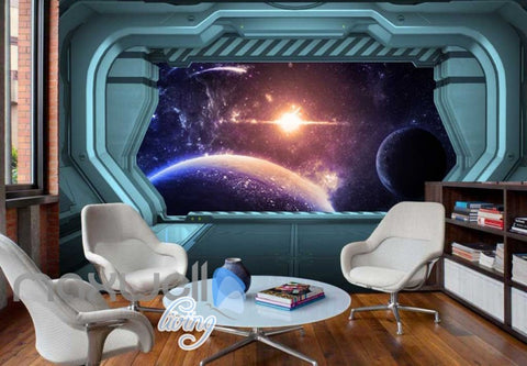 Image of View Planets From Spaceship Art Wall Murals Wallpaper Decals Prints Decor IDCWP-JB-000812