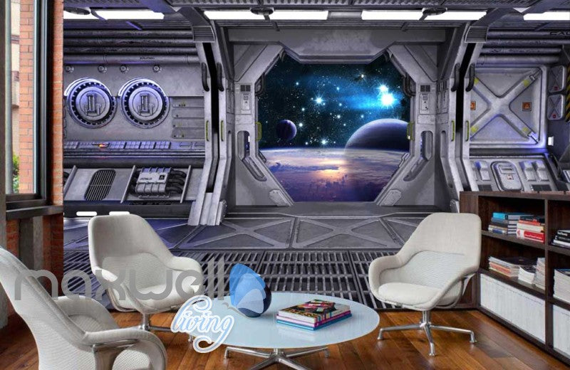 View Planets From Spaceship Art Wall Murals Wallpaper Decals Prints Decor IDCWP-JB-000814