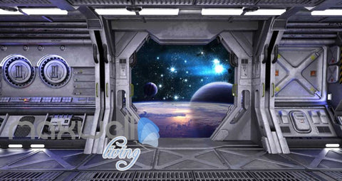 Image of View Planets From Spaceship Art Wall Murals Wallpaper Decals Prints Decor IDCWP-JB-000814