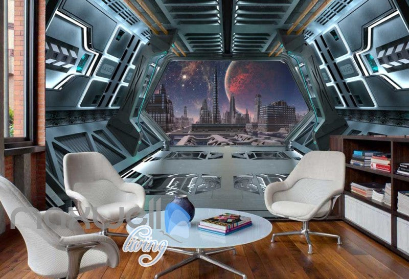 View Plantes And City From Spaceship Art Wall Murals Wallpaper Decals Prints Decor IDCWP-JB-000816