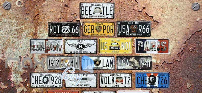Rotten Wall With Plates Cars Art Wall Murals Wallpaper Decals Prints Decor IDCWP-JB-000817