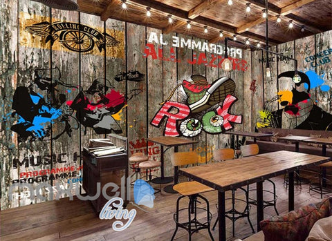Image of Wooden Wall With Colourful Drawings Of Rock Band Art Wall Murals Wallpaper Decals Prints Decor IDCWP-JB-000822