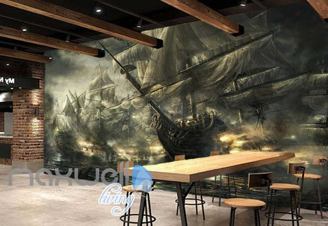 Image of Old Boat With Many Sails Art Wall Murals Wallpaper Decals Prints Decor IDCWP-JB-000826