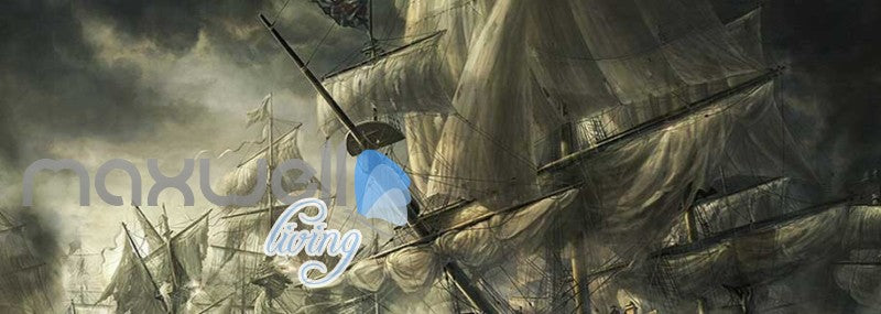 Old Boat With Many Sails Art Wall Murals Wallpaper Decals Prints Decor IDCWP-JB-000826