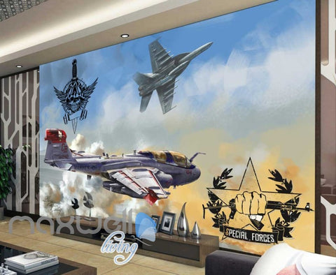 Image of 3D Special Forces Jet Art Wall Murals Wallpaper Decals Prints Decor IDCWP-JB-000828