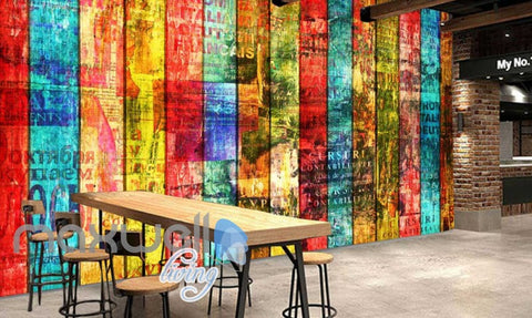 Image of Colourful Wooden Wall Art Wall Murals Wallpaper Decals Prints Decor IDCWP-JB-000829