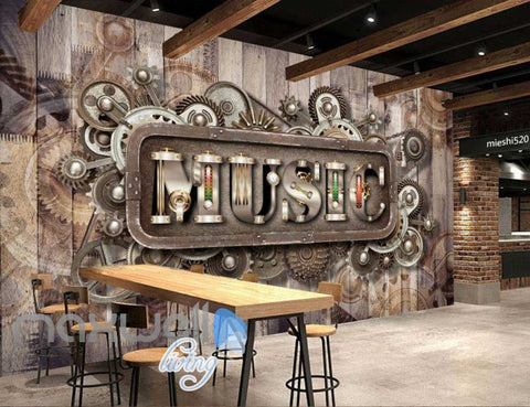 Image of Wooden Wall With Gears And Music Letters Art Wall Murals Wallpaper Decals Prints Decor IDCWP-JB-000831