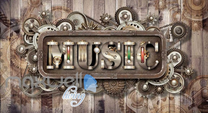 Wooden Wall With Gears And Music Letters Art Wall Murals Wallpaper Decals Prints Decor IDCWP-JB-000831