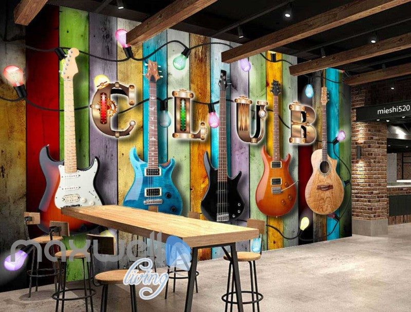 colourful wooden wall with electric guitars art wall muralstap to expand