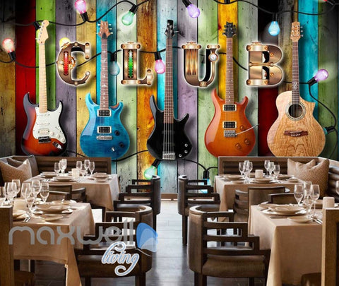 Image of Colourful Wooden Wall With Electric Guitars Art Wall Murals Wallpaper Decals Prints Decor IDCWP-JB-000837
