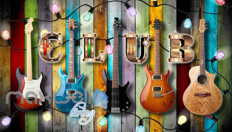 Colourful Wooden Wall With Electric Guitars Art Wall Murals
