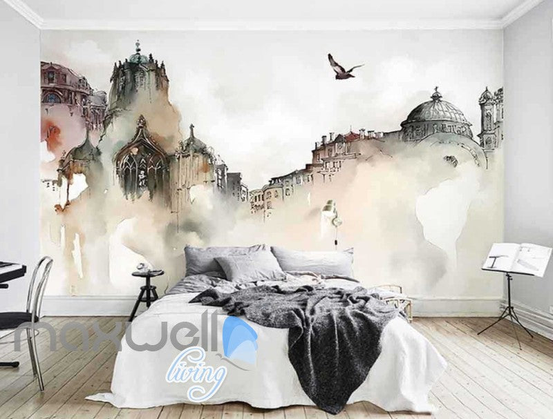 Drawing Of Old City And Bird Flying Art Wall Murals Wallpaper Decals Prints Decor IDCWP-JB-000839