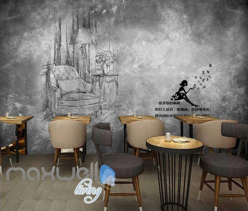 Black and white drawing livingroom art wall murals wallpaper decals prints decor idcwp jb
