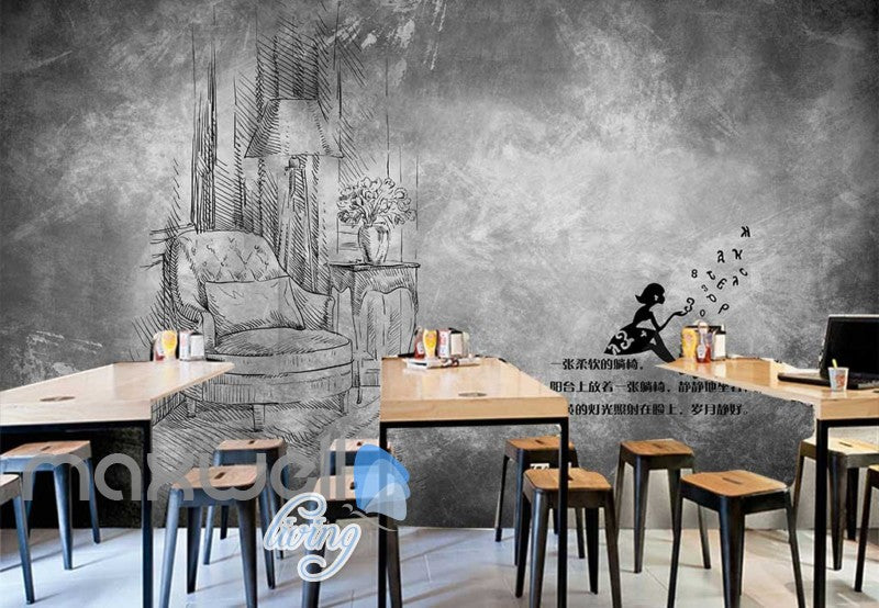Black And White Drawing Livingroom  Art Wall Murals Wallpaper Decals Prints Decor IDCWP-JB-000841