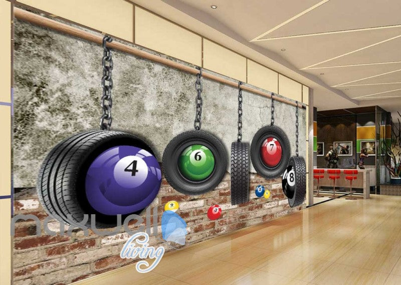 Pool Balls Wheels Brick Wall Art Wall Murals Wallpaper Decals Prints Decor IDCWP-JB-000844