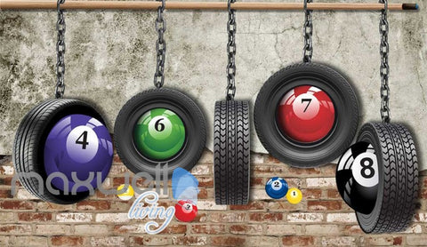 Image of Pool Balls Wheels Brick Wall Art Wall Murals Wallpaper Decals Prints Decor IDCWP-JB-000844