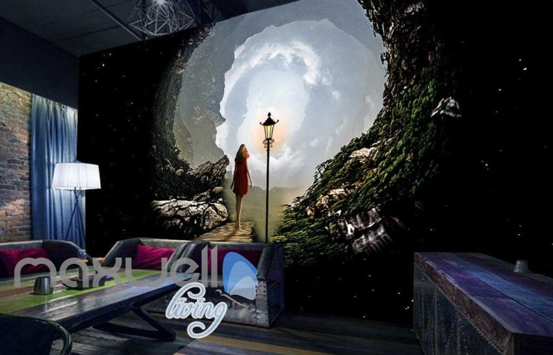 Graphic Design View Girl Walking Into Woods Dream Art Wall Murals Wallpaper Decals Prints Decor IDCWP-JB-000848