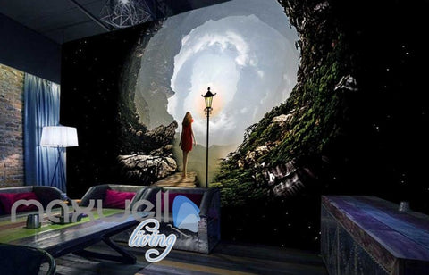 Image of Graphic Design View Girl Walking Into Woods Dream Art Wall Murals Wallpaper Decals Prints Decor IDCWP-JB-000848