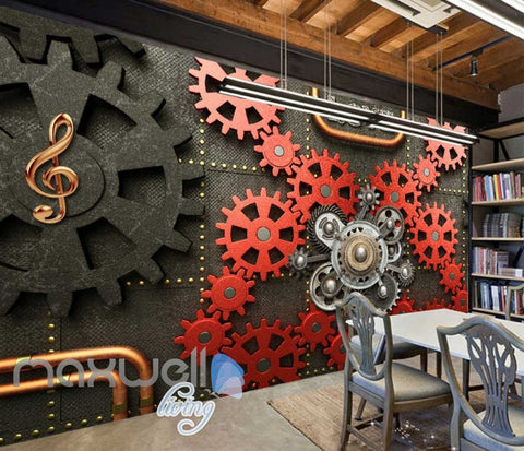 Image of Red And Black Gears On Wall Art Wall Murals Wallpaper Decals Prints Decor IDCWP-JB-000850