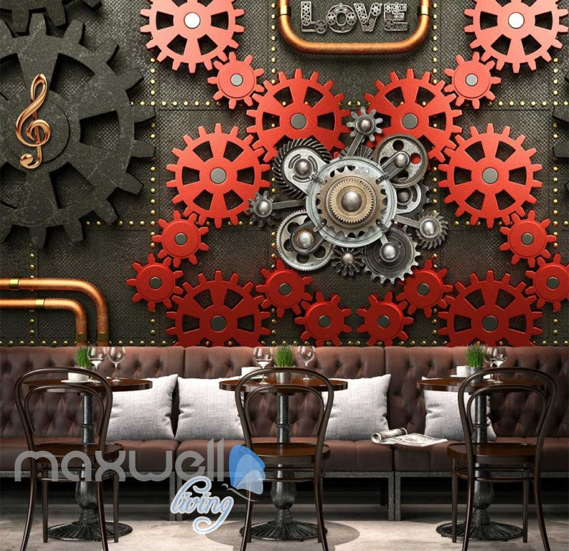 Red And Black Gears On Wall Art Wall Murals Wallpaper Decals Prints Decor IDCWP-JB-000850