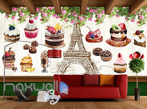 Image of Retro Eiffel Tower And Bakery Art Wall Murals Wallpaper Decals Prints Decor IDCWP-JB-000851