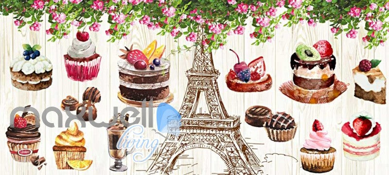 Retro Eiffel Tower And Bakery Art Wall Murals Wallpaper Decals Prints Decor IDCWP-JB-000851