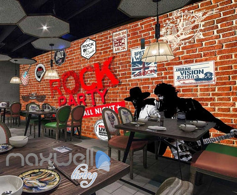 Image of Brick Wall With Rock Stickers Art Wall Murals Wallpaper Decals Prints Decor IDCWP-JB-000854