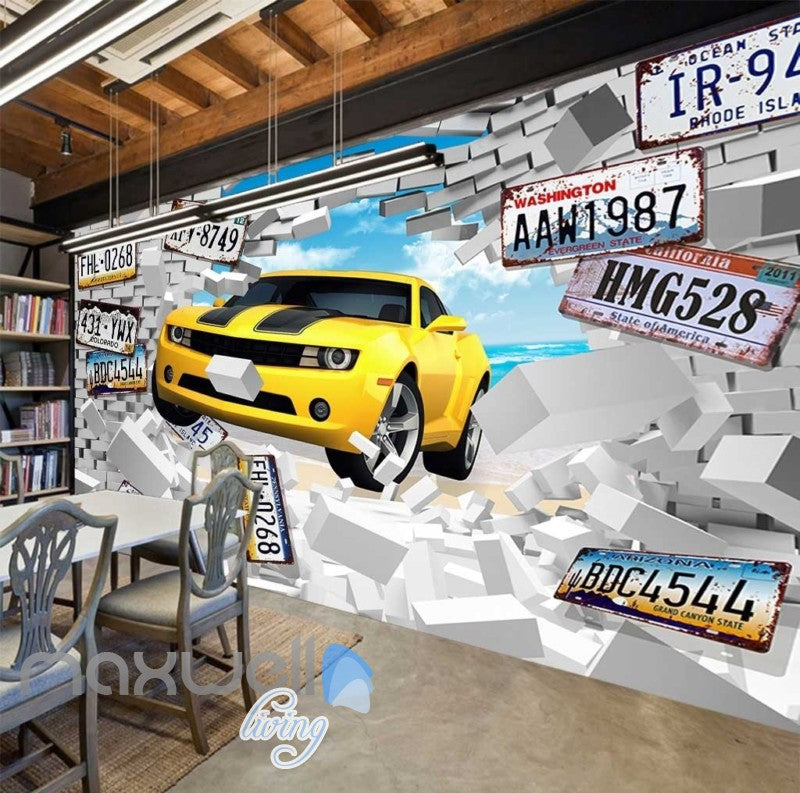 Breaking Through Wall Yellow Car Car Plates Art Wall Murals Wallpaper Decals Prints Decor IDCWP-JB-000859