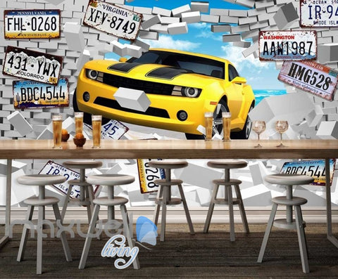 Image of Breaking Through Wall Yellow Car Car Plates Art Wall Murals Wallpaper Decals Prints Decor IDCWP-JB-000859