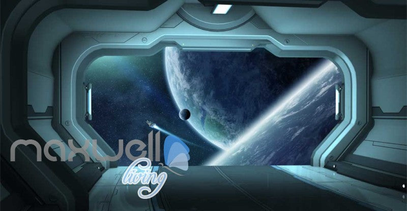 View Of Space From Spaceship Art Wall Murals Wallpaper Decals Prints Decor IDCWP-JB-000863