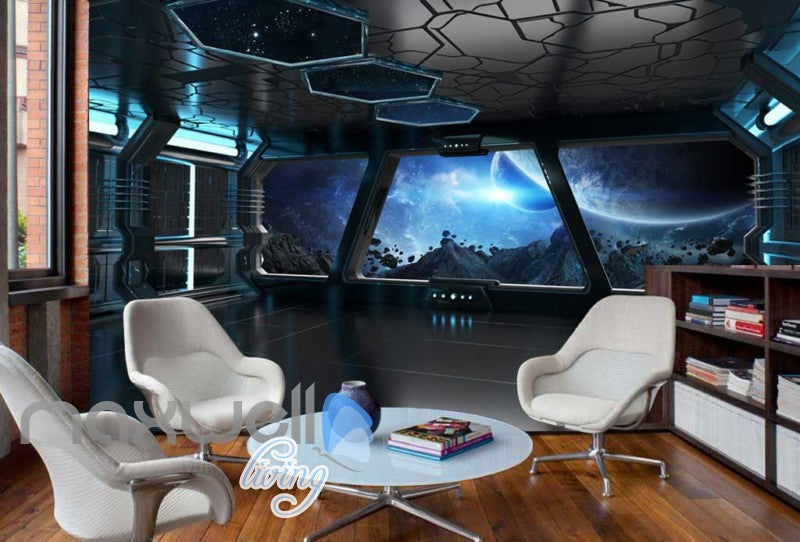 View Of Space From Spaceship Art Wall Murals Wallpaper