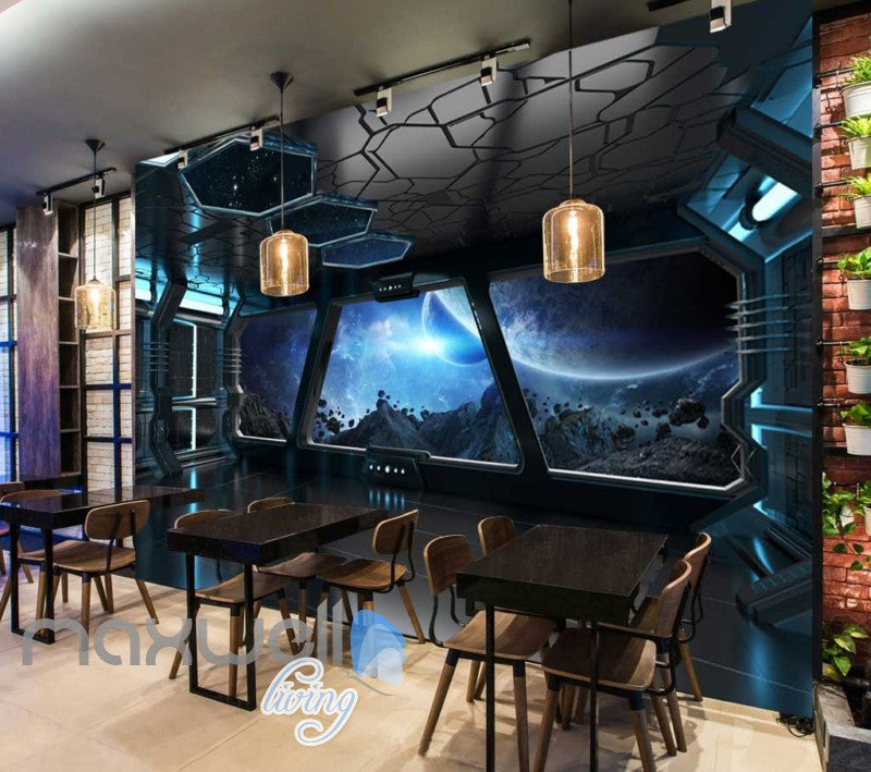 View Of Space From Spaceship Art Wall Murals Wallpaper Decals Prints Decor IDCWP-JB-000866