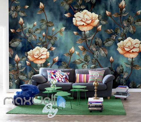 Vintage Flowers Art Wall Murals Wallpaper Decals Prints Decor IDCWP-JB-000868