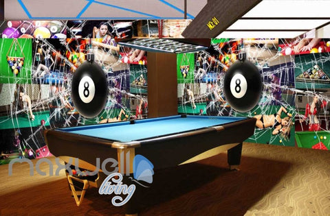 Image of Pool Ball Breaking Glass Collague Poster Pool Art Wall Murals Wallpaper Decals Prints Decor IDCWP-JB-000869
