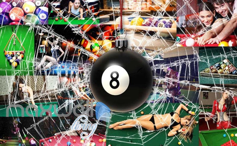 Pool Ball Breaking Glass Collague Poster Pool Art Wall Murals Wallpaper Decals Prints Decor IDCWP-JB-000869