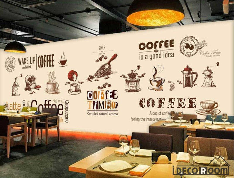 Graphic Design Coffe Theme Coffee Shop Art Wall Murals Wallpaper Decals Prints Decor IDCWP-JB-000880