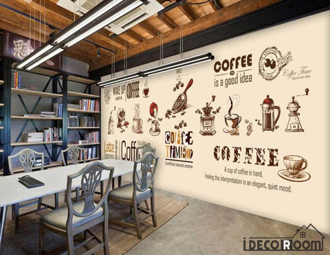 Image of Graphic Design Coffe Theme Coffee Shop Art Wall Murals Wallpaper Decals Prints Decor IDCWP-JB-000880