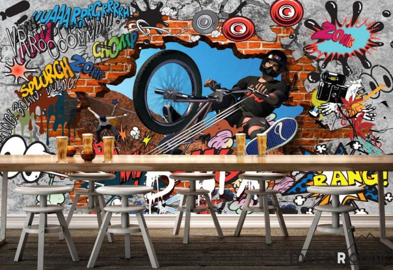 Graphic Design Graffiti Bike Breaking Through Brick Wall Art Wall Murals Wallpaper Decals Prints Decor IDCWP-JB-000881