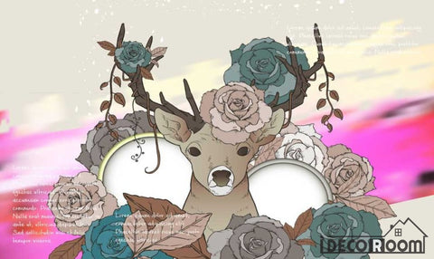 Image of Graphic Design Vintage Hipster Deer Flowers Living Room Art Wall Murals Wallpaper Decals Prints Decor IDCWP-JB-000883