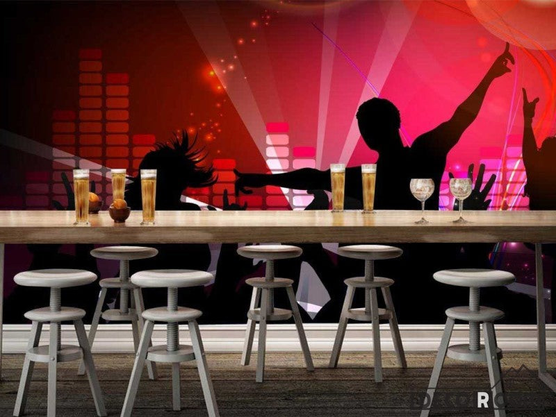 Graphic Design People Dancing Silhouette Ktv Club Art Wall Murals Wallpaper Decals Prints Decor IDCWP-JB-000884