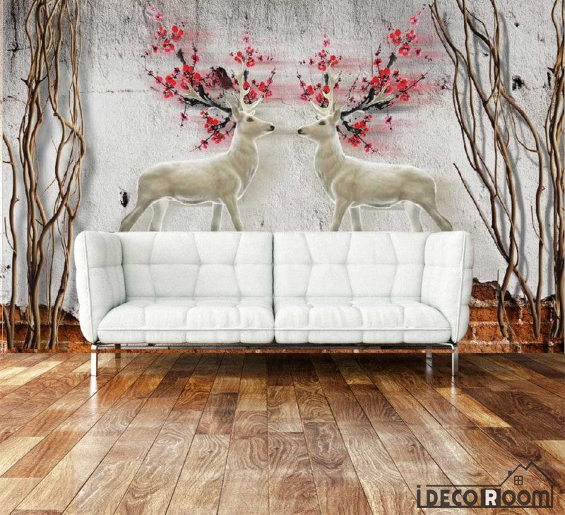 Graphic Design Vintage Deer With Red Flowers Living Room Art Wall Murals  Wallpaper Decals Prints Decor
