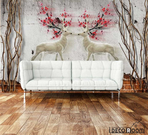 Image of Graphic Design Vintage Deer With Red Flowers Living Room Art Wall Murals Wallpaper Decals Prints Decor IDCWP-JB-000886
