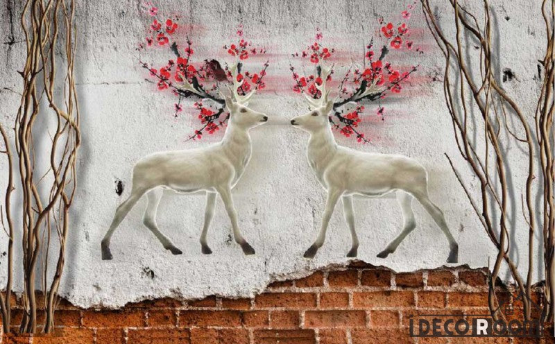 Graphic Design Vintage Deer With Red Flowers Living Room Art Wall Murals Wallpaper Decals Prints Decor IDCWP-JB-000886