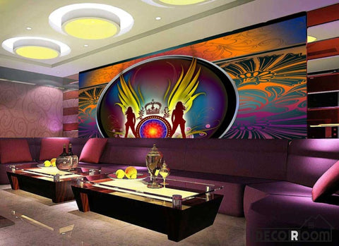 Image of Graphic Design Women Silhouette Circle Crown Ktv Club Art Wall Murals Wallpaper Decals Prints Decor IDCWP-JB-000891