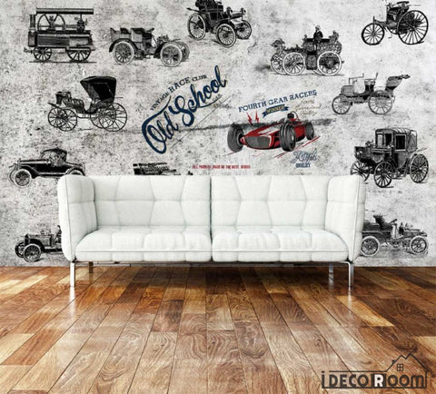 Image of Collage Black And White Carriage Living Room Art Wall Murals Wallpaper Decals Prints Decor IDCWP-JB-000893