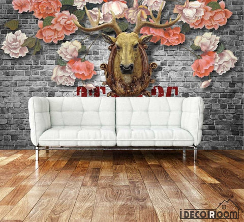 Image of Vintage Flowers Deer Head On Black Brick Wall Living Room Art Wall Murals Wallpaper Decals Prints Decor IDCWP-JB-000899