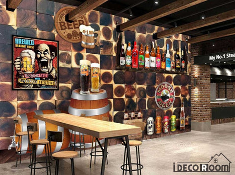 Image of 3D Wood Wall Beers Bar Art Wall Murals Wallpaper Decals Prints Decor IDCWP-JB-000900