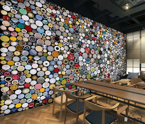 Image of Can Bottles Collage Restaurant Bar Art Wall Murals Wallpaper Decals Prints Decor IDCWP-JB-000901