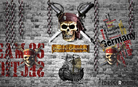 Image of Black Brick Wall 3D Pirate Skull With Swords Art Wall Murals Wallpaper Decals Prints Decor IDCWP-JB-000903